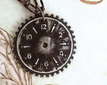 Clock Gear Necklace - Black - Sterling Silver - Watch Face - Gears - Clock Parts - Vintage Inspired - Rustic - Pendant - Steampunk Necklace