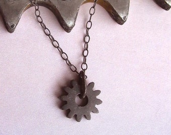 Black Gear Necklace - Tiny Gear Necklace - Gear Necklace - Cog Necklace - Small Gear Necklace - Spiky Gear - Rustic Charm - Made In Brooklyn
