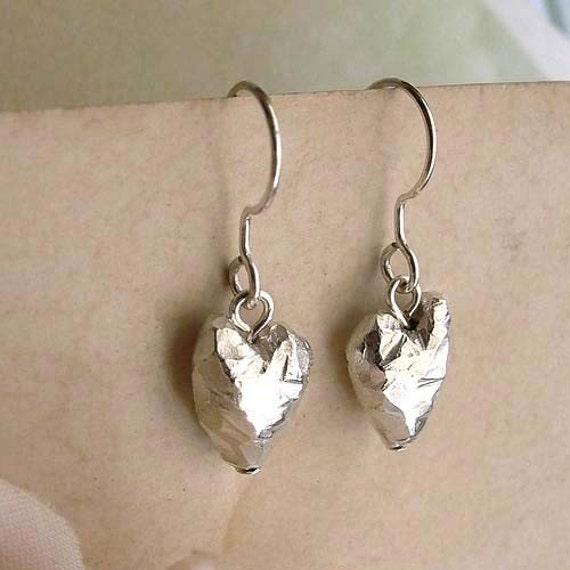 Heart Earrings - Sterling Silver - Heart Drop - Handmade - Beveled - Asymmetrical - Cottage Chic - Heart Jewelry - Heart Drop Earrings