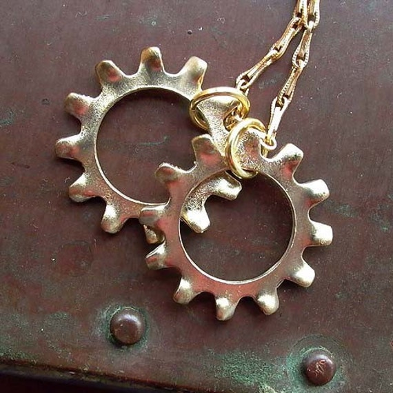 Cog Tags - Brass - Industrial Chic - Unisex - Mens - GoW - Gears of War - Gamer - Rustic - Cog Jewelry - Cog Tags Necklace