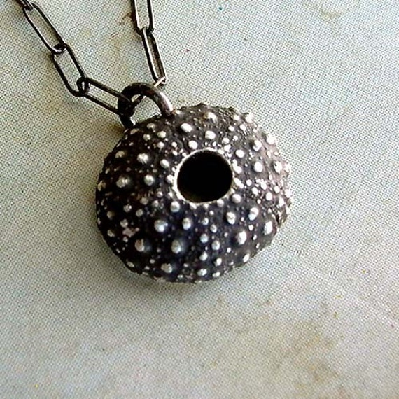 Sea Urchin Necklace - Black - Sterling Silver - Spiky - Bumpy - Beach Inspired - Oxidized - Rustic - Shell Necklace