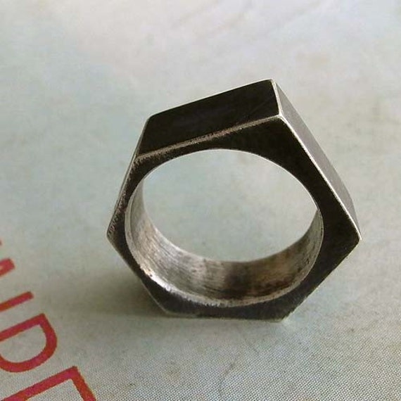 Industrial Ring - Size 7 - Black - Sterling Silver - Industrial Chic - Asymmetrical - Artistic - Urban - Hipster - Nut Ring - Statement Ring