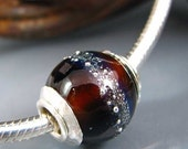 Ste. Chapelle Wine bottle and silver Recycled Art Glass Bead Eco-Friendly