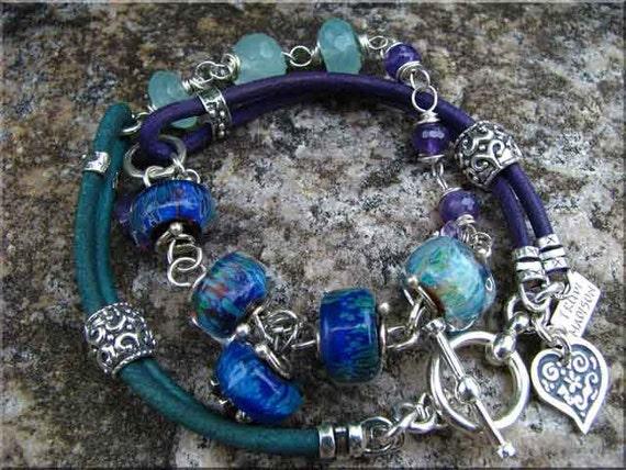 Midnight Rain Art Glass Bead and Leather Wrap Bracelet