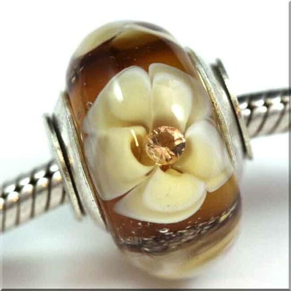AMBER GARDEN European Art Glass Lampwork Cored Bead