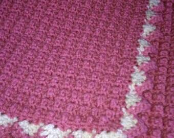 Pink baby girl crochet blanket