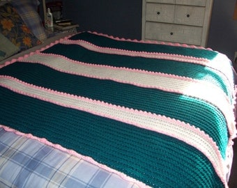 Warm winter Teal and pink afghan
