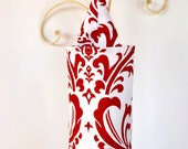 Ruby Red and White Flourish Fabric Cloth Plastic Grocery Bag Holder