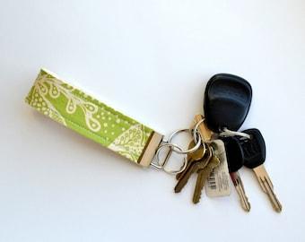 Green Filigree Fabric Keychain Fob