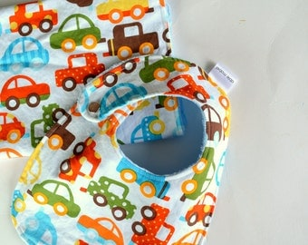 Baby Boy Shower Gift Set Bib and Burp Cloth Cars with Minky