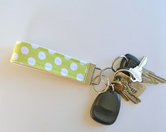 Fabric Key Fob Lime Green Ta Dot
