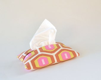 Travel Sized Tissue Cover, Fabric Tissue Holder, Honeycomb