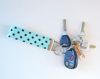 Fabric Key Chain Fob Aqua and Brown Polka Dots