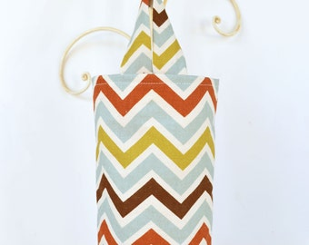 Fabric Cloth Plastic Grocery Bag Holder Chevron Earthy Tones
