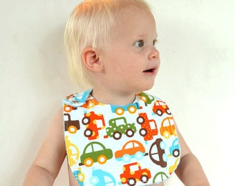 Baby Boy Bib, Adjustable Bib with Minky for Ready Set Go Cars