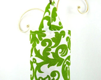 Fabric Plastic Bag Holder in Green and White Motif