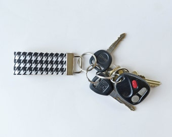 Key Fob Fabric Black and White Houndstooth - You Choose Size