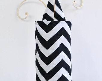 Fabric Plastic Grocery Bag Holder Black Chevron Zig Zag