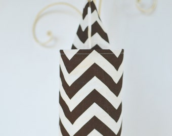 Fabric Cloth Plastic Grocery Bag Holder Chevron Brown