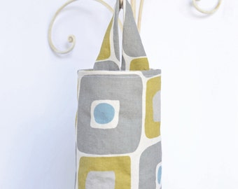 Fabric Plastic Grocery Bag Holder Grey and Yellow Squares