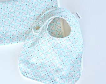 Baby Gift Set, Sea Stitch Petal with Minky Bib and Burp Cloth