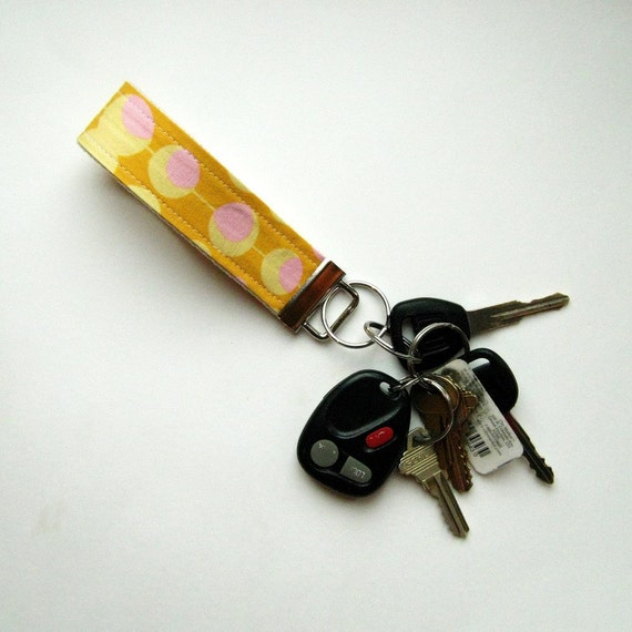 Fabric Keyring Fob in Pink Modern Martini