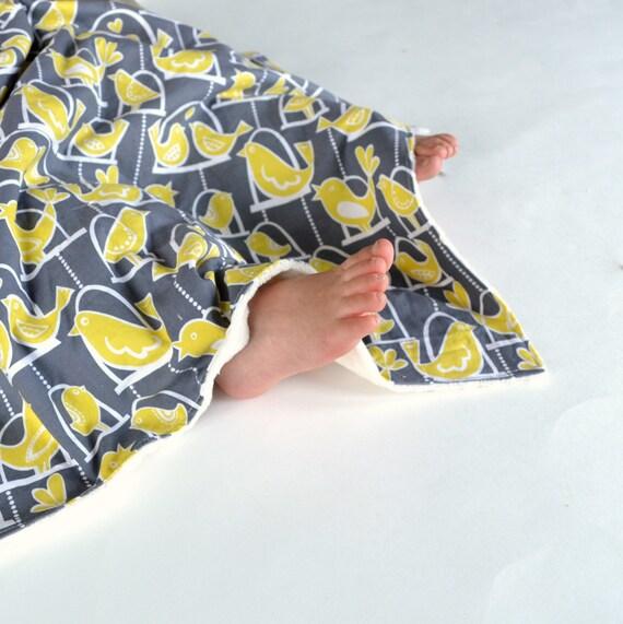 Baby Girl Blanket Handmade Baby Girl Blanket with Minky in Grey Bird Swing