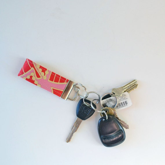Small Fabric Key Fob Pink and Red