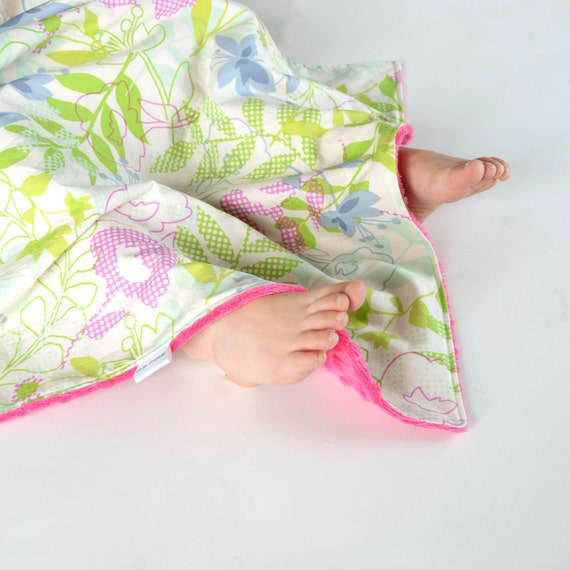 Security Blanket Checked Floral  Cotton Lovie with Minky for Baby Girl