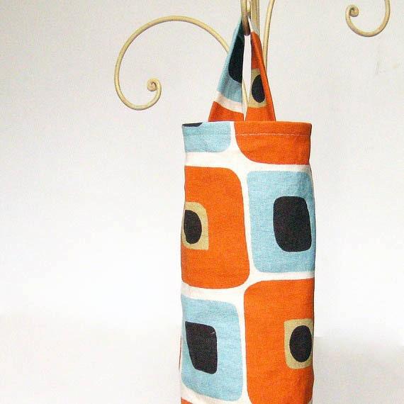 Plastic Bag Holder Dispenser Blue and Orange Mod Squares Fabric