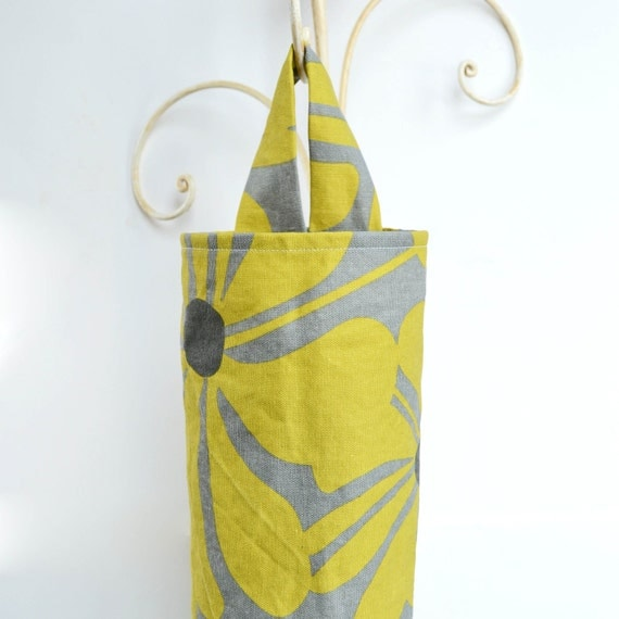 Plastic Bag Dispenser in Yellow and Grey Flowers
