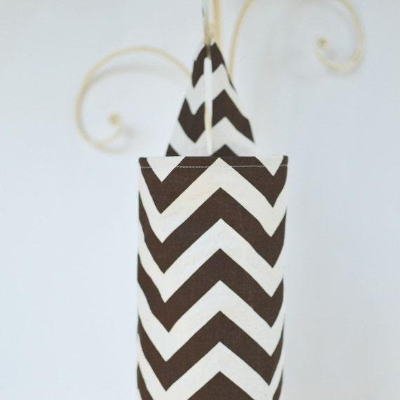 Fabric Cloth Plastic Grocery Bag Holder Chevron Brown