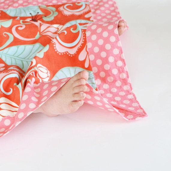 Lightweight Cotton Baby Girl Blanket, Fandango Flowers