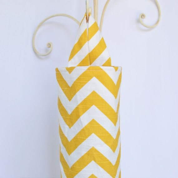 Fabric Plastic Grocery Bag Holder Dispenser Yellow Chevron Zig Zag