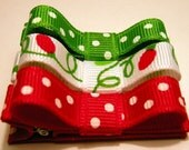 Set of 3 Red Green Christmas Light Hair Bow Clippies