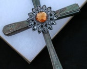Knife Handle Cross with Orange Accent