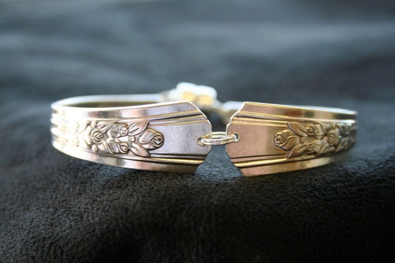 Floral Silverware Handle Bracelet with Magnetic Clasp