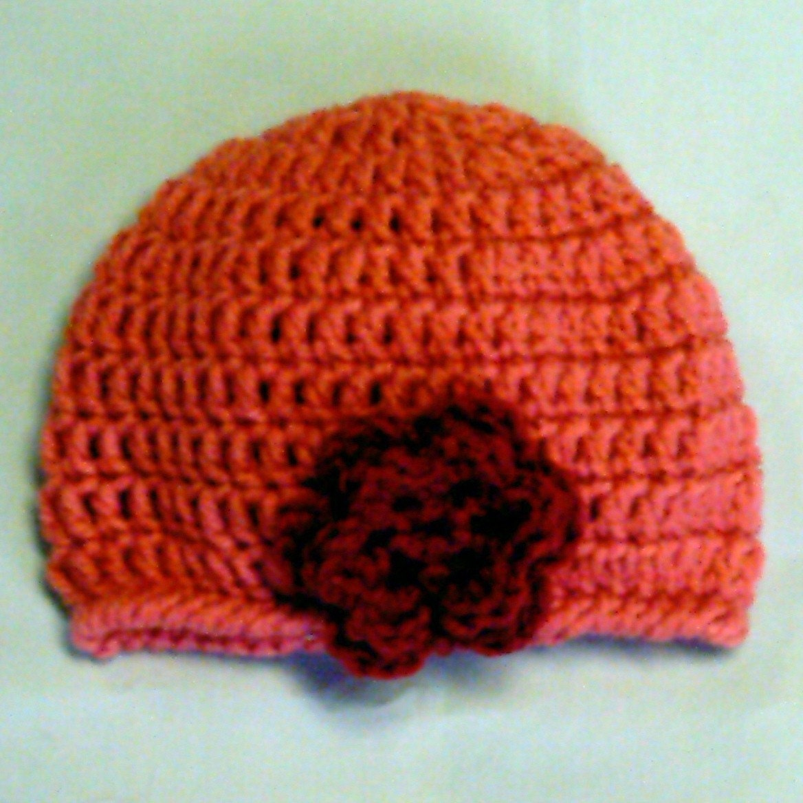 Easy Crochet Flower Hat Pattern : Flower Beanie Easy Crochet Pattern PDF by jillbeth on Etsy