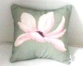 Pink magnolias flowers 13x13 Cushion- decorative pillow