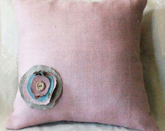 Shabby chic 18x18 pillow made of pink burlap fabric- decorative accent pillow