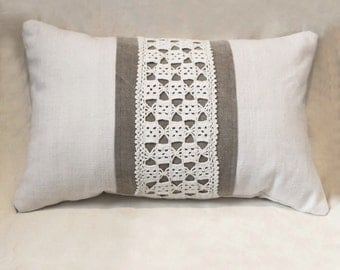 Shabby chic 13x20 cushion made of antique hand loomed fabric and vintage doily- decorative accent pillow