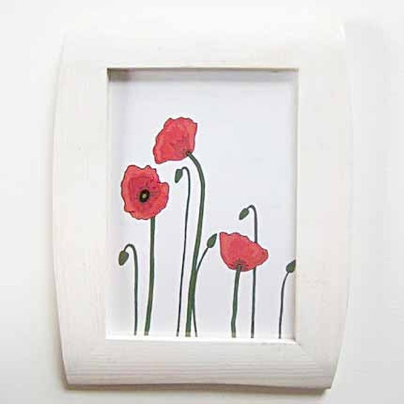 5x7 framed art 'Poppies' print- Red poppy print