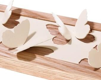 Butterfly Jewellery Hanger in ivory powder coated steel and oak