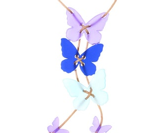 Butterfly necklace in purples