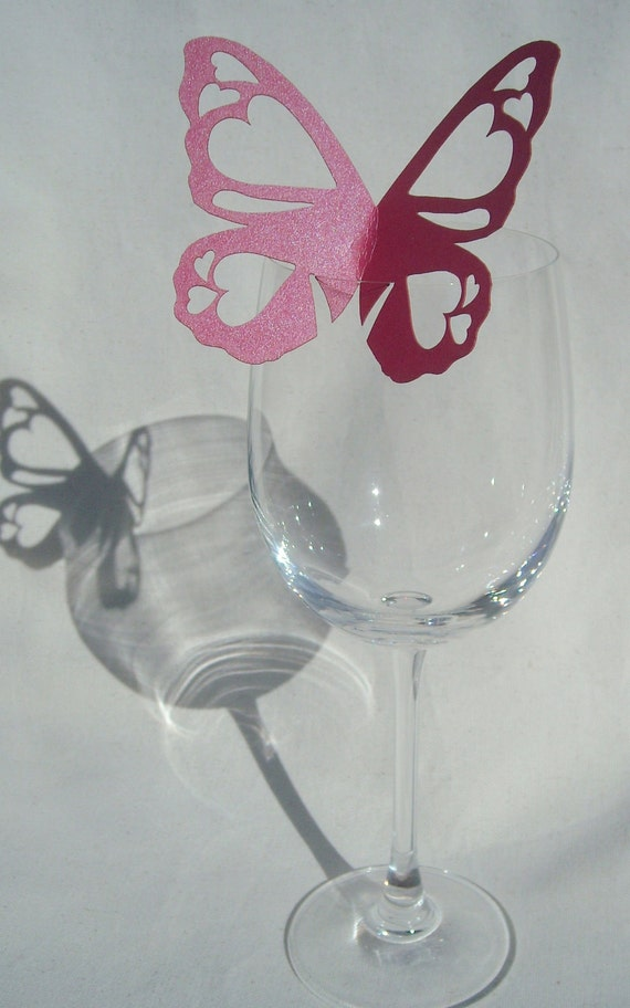50 Butterfly Wedding Glass Place name cards