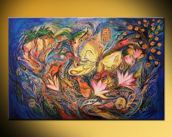 The Blue Wave: signed canvas print based on Jewish art painting with Kabbalah symbols from Israeli artist Best gift from Jerusalem