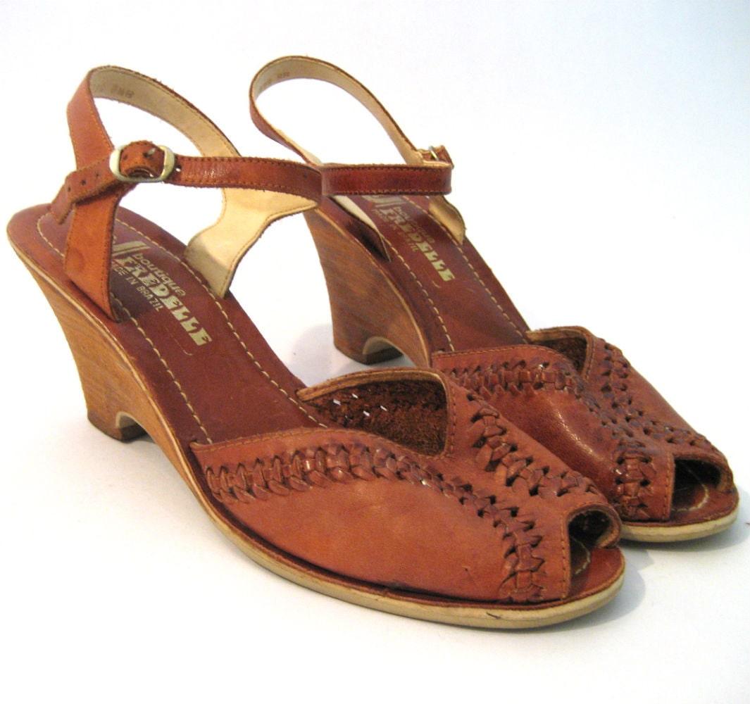 vintage huarache wedge sandals vintage leather wedges