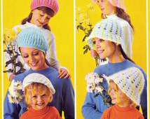 2 1970s Hats Cloche Beret Hat Parade knitting and crochet pattern pdf file