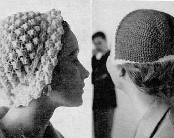 1950s 2 Hat Caps Bonnet Crochet Knitting Pattern pdf
