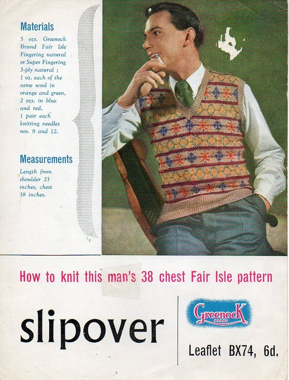 1940s Mens Tanktop Slipover Fair isle Knitting Pattern pdf INSTANT DOWNLOAD